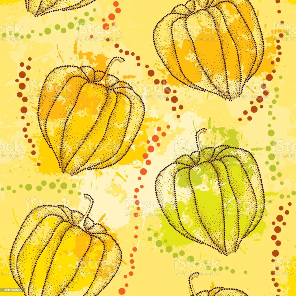Patrón sin costuras con decorado Physalis en el fondo colorido blots - ilustración de arte vectorial