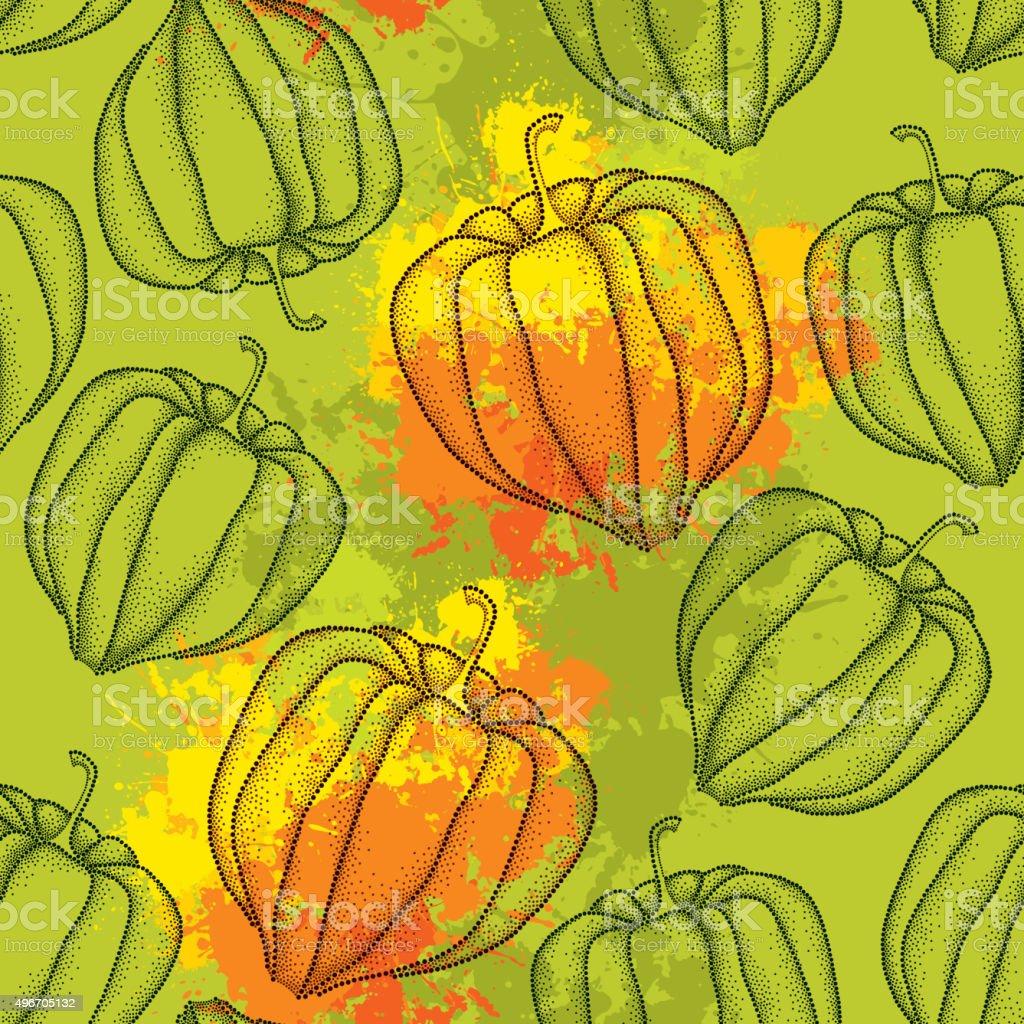 Patrón sin costuras con decorado Physalis o cabo de gooseberry - ilustración de arte vectorial