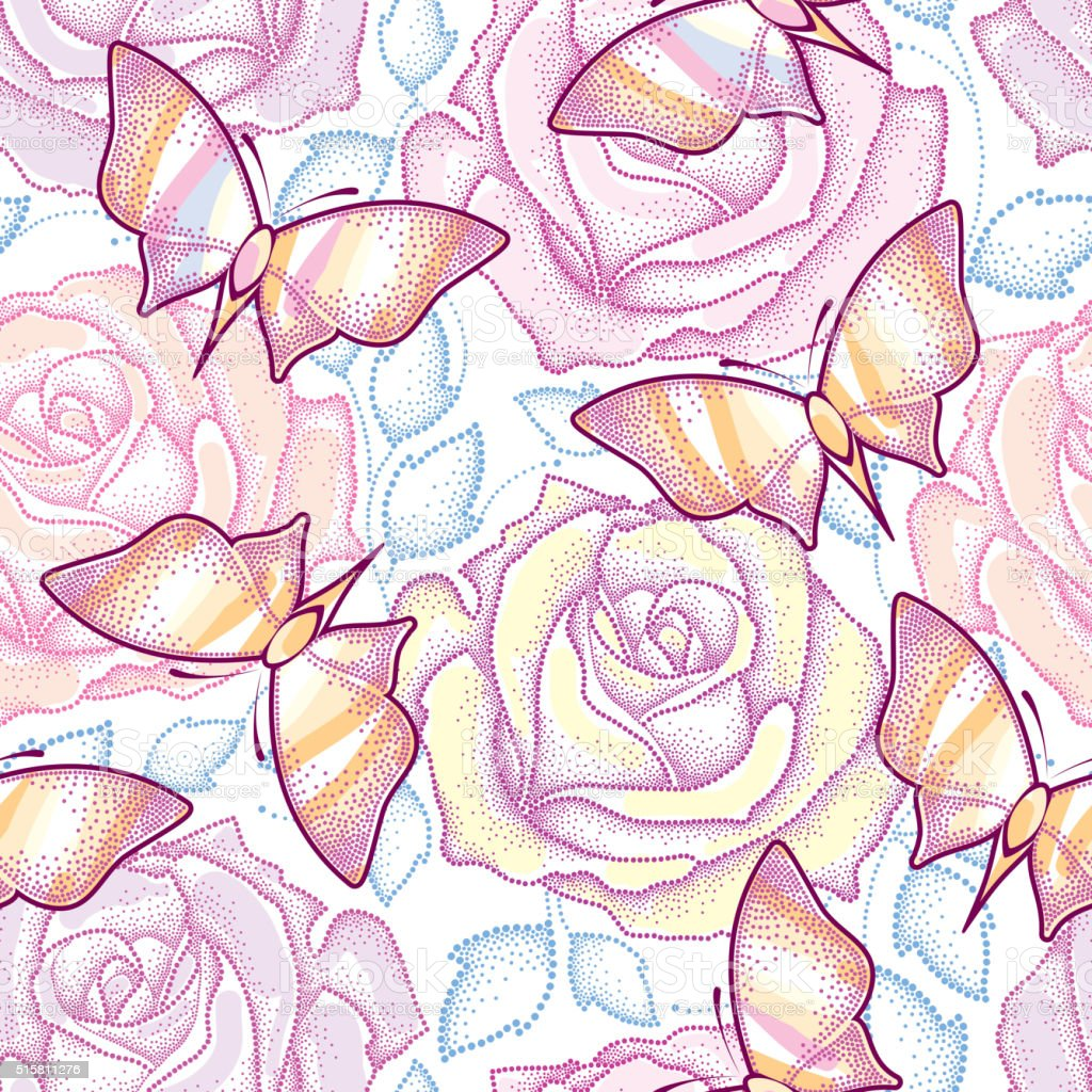 Ilustración de Patrón Continuo Con Decorado Rosas Azul Hojas Y ...