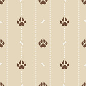 Seamless pattern with dotted stripes and realistic dog paw prints. Minimal flat background with pet footprint and bones in brown color. Texture for textile, fabric, wrapping. Vector Illustration.