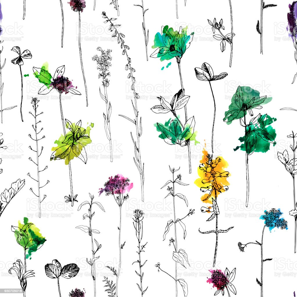 ハーブと花を描くとシームレスなパターン ベクターアートイラスト