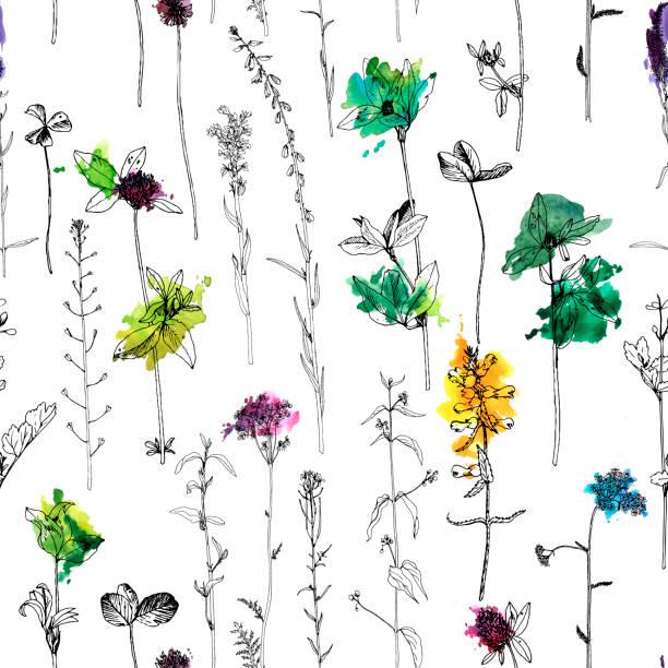 ハーブと花を描くとシームレスなパターン - 薬草点のイラスト素材/クリップアート素材/マンガ素材/アイコン素材