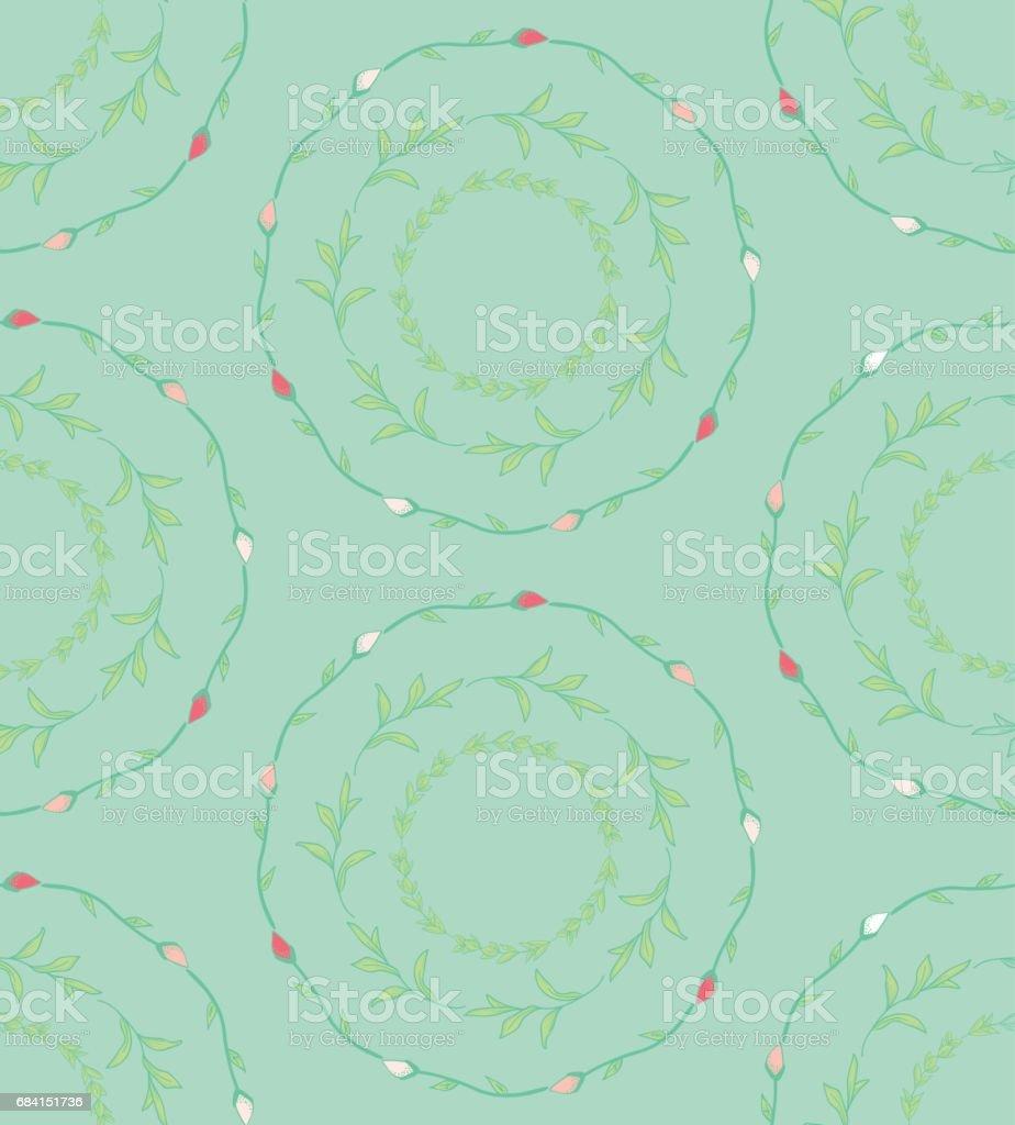 Seamless Pattern with Drawn Circles Branches, Plants royaltyfri seamless pattern with drawn circles branches plants-vektorgrafik och fler bilder på bildbakgrund