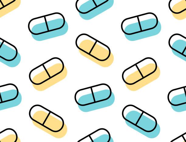 bezszwowy wzór z lekami pigułki i kapsułki - kapsułka stock illustrations
