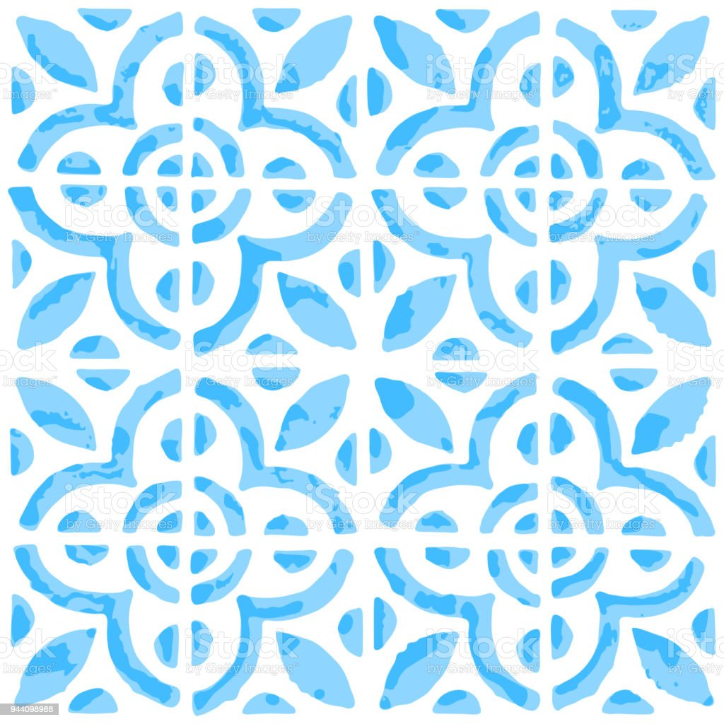 Seamless Pattern With Dutch Ornaments In Delft Kitchen Tiles Style Stock Illustration Download Image Now Istock