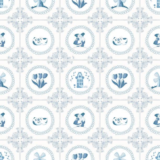 nahtlose muster mit niederländischer ornamenten (deflt blau) - niederlande stock-grafiken, -clipart, -cartoons und -symbole