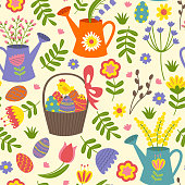 seamless pattern with Easter eggs and flowers - vector illustration, eps
