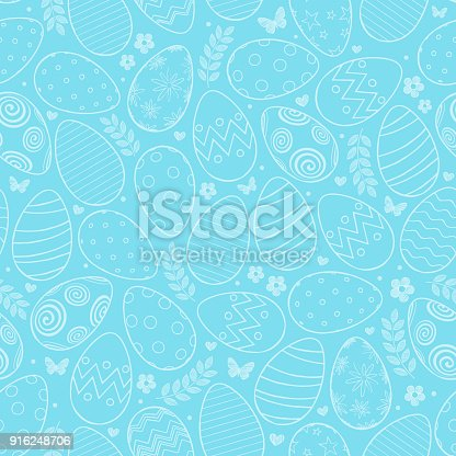 istock Seamless pattern with Easter eggs, flowers and butterfly on blue background 916248706