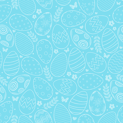 Seamless pattern with Easter eggs, flowers and butterfly on blue background