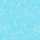 Vector seamless pattern with decorative Easter eggs