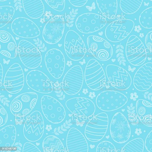 Seamless pattern with easter eggs flowers and butterfly on blue vector id916248706?b=1&k=6&m=916248706&s=612x612&h= gp dtewjrkj9ypy df muq vh3mluy4lcwimjra4ue=