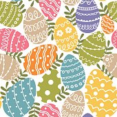 seamless pattern with Easter eggs- vector illustration, eps