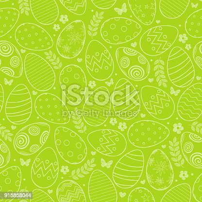 istock Seamless pattern with Easter eggs 915858044