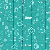 Seamless pattern with Easter elements. Vector