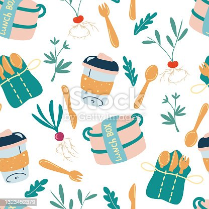 istock Seamless pattern with eco-friendly kitchen. Lunch box, wooden cutlery, refillable mug. Go green, no plastic. Zero waste kitchen. Accessories textile, wrapping paper, wallpaper. Vector Background 1323452379