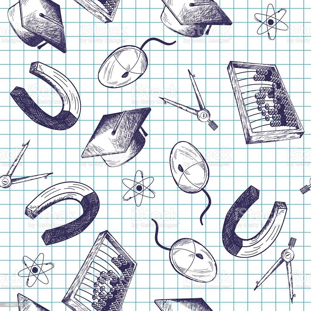 Patrón sin costuras con tema de la educación - ilustración de arte vectorial