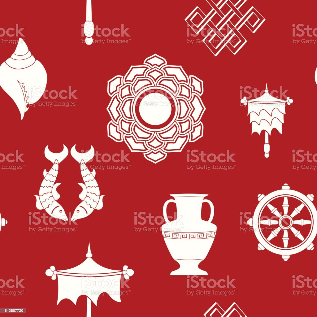 Seamless Pattern With Eight Auspicious Symbols Of Buddhism Stock