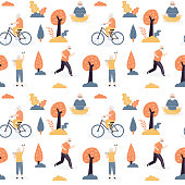 Seamless pattern with elderly people are engage in physical activity.Varios outdoors sport active for old people. Health care of aged humans texture background. Flat vector illustration.