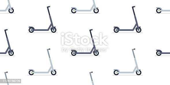 Seamless pattern with Electric scooter. isolated on white background