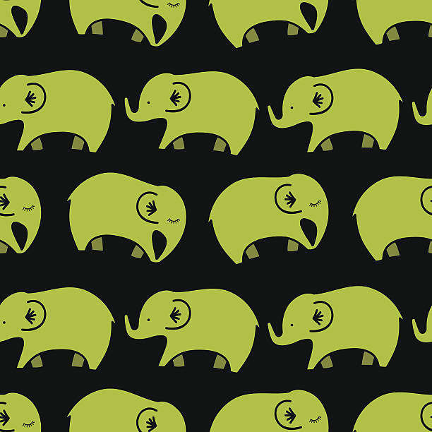 seamless pattern with elephants vector art illustration