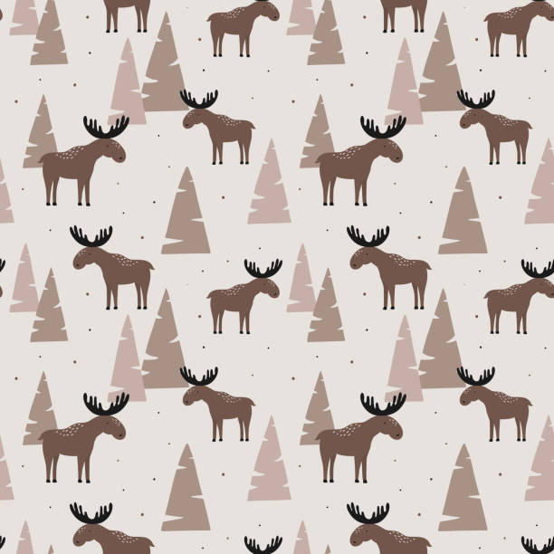 Seamless pattern with elk in a wood. Vector illustration. Design can be used for textiles, wallpaper, clothing, wrapping paper. Seamless pattern with elk in a wood. Vector illustration. Design can be used for textiles, wallpaper, clothing, wrapping paper. moose stock illustrations