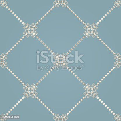 Elegant knot sign. Blue and beige pastel seamless pattern beautiful calligraphic flourish with diagonal lines of pearls. Vector illustration.