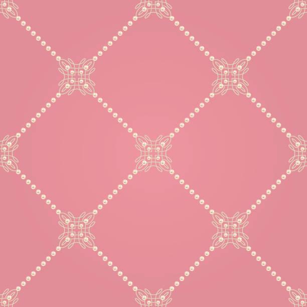 nahtlose muster mit ellegant knoten zeichen und diagonalen linien der perlen. vektor-illustration. - perlenweben stock-grafiken, -clipart, -cartoons und -symbole