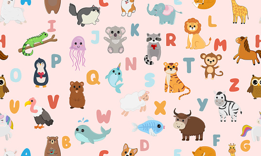 Seamless pattern with english alphabet with cute animals isolated on pink background. Vector illustration for teaching children learning a foreign language.