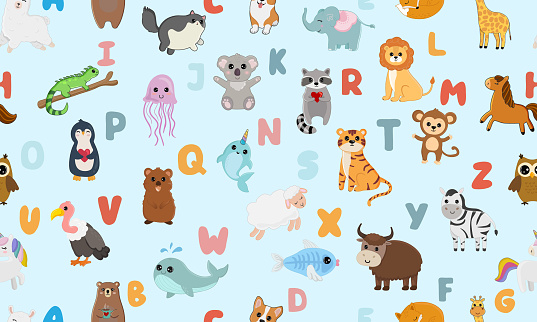 Seamless pattern with english alphabet with cute animals isolated on blue background. Vector illustration for teaching children learning a foreign language.