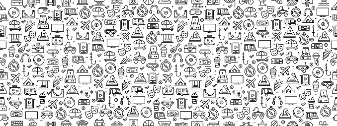Seamless Pattern with Entertainment Icons