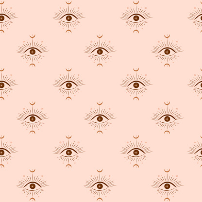 Seamless pattern with esoteric symbol of eye, moon and sun.
