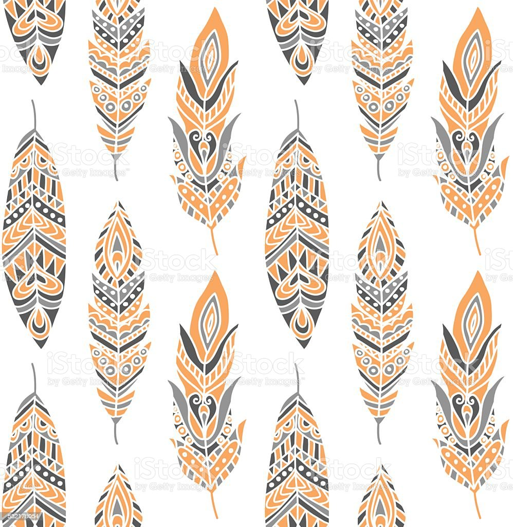 Seamless Pattern with Ethnic Feathers vector art illustration