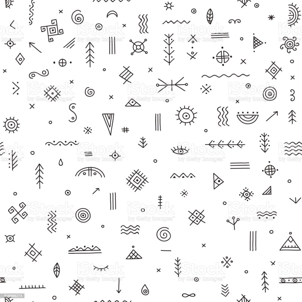 seamless pattern with ethnic tribal symbols vector art illustration