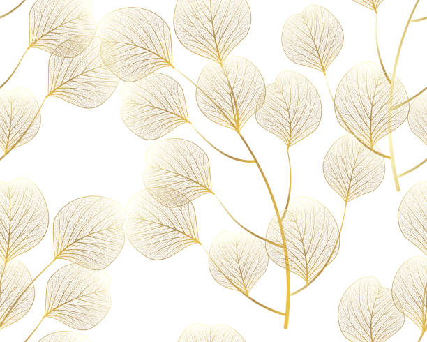 Seamless pattern with eucalyptus leaves Seamless pattern with eucalyptus leaves.Vector illustration. floral and decorative background stock illustrations