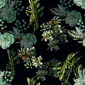 Seamless pattern with eucalyptus, magnolia, fern leaves and succulents bouquets. Trendy rustic herb