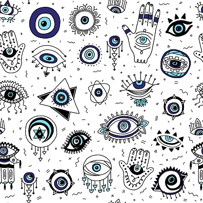 Seamless pattern with Evil eyes and Fatimas hand symbols vector illustration.