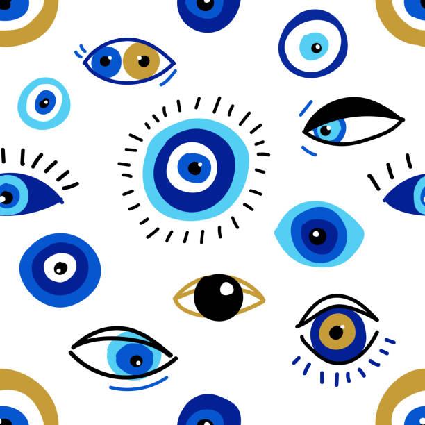 illustrazioni stock, clip art, cartoni animati e icone di tendenza di modello senza cuciture con occhi malvagi, diversi talismani in design piatto disegnato a mano, stile moderno contemporaneo alla moda - malvagità