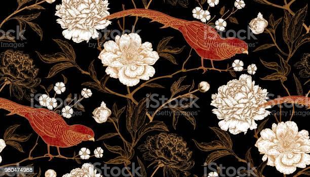 Seamless pattern with exotic bird pheasants and peony flowers vector id980474988?b=1&k=6&m=980474988&s=612x612&h=i yheoji7cybz1ayvbdcqpjuqkbi1w  wu4a1gychjw=