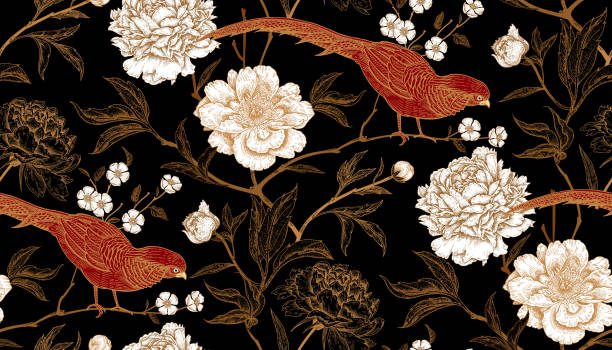 Seamless pattern with exotic bird pheasants and peony flowers. Peonies and pheasants. Floral vintage seamless pattern with flowers and birds. White, black, red and gold color. Oriental style. Vector illustration art. For design textiles, wrapping paper, wallpaper bird backgrounds stock illustrations