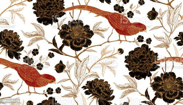 Seamless pattern with exotic bird pheasants and peony flowers vector id984915070?b=1&k=6&m=984915070&s=612x612&h=xt1mqdvqvyx1wun6k6zw6q76o5ovgjmb51u2y2yzxgk=