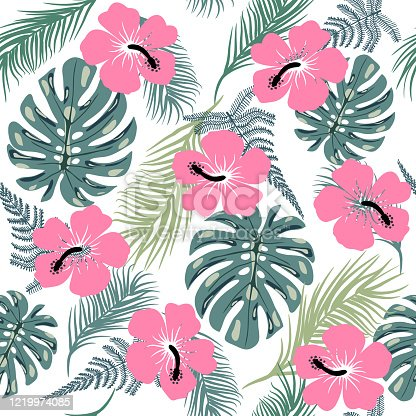 istock seamless pattern with exotic leaves and hibiscus flowers 1219974085
