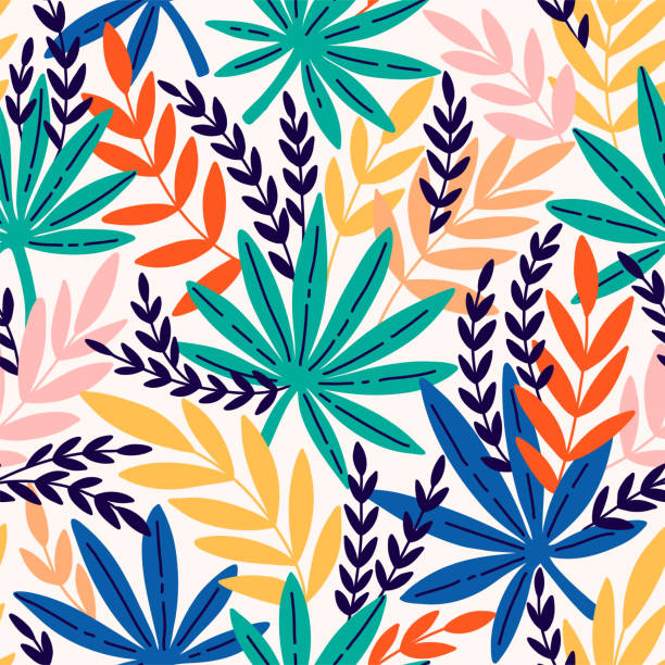 Seamless pattern with exotic leaves. Tropical leaves of palm tree. Seamless pattern with exotic leaves. Tropical leaves of palm tree. Vector background. marijuana stock illustrations