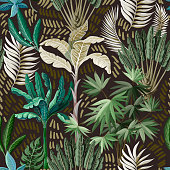 Seamless pattern with exotic trees such us palm and banana.