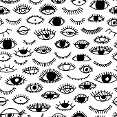 Seamless pattern with eye and eyelashes. Ink illustration. Ornament for wrapping paper. Monochrome design.