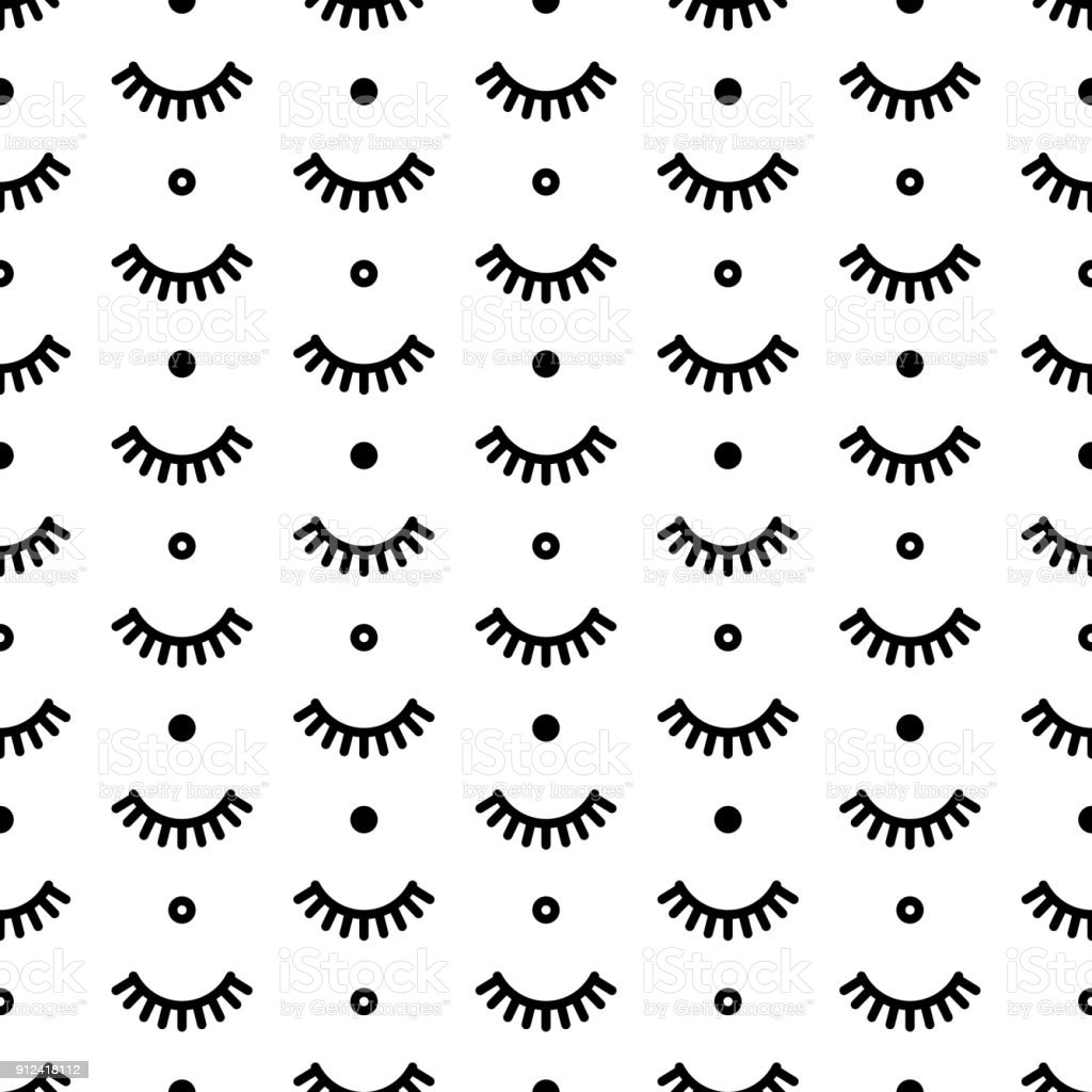 Seamless pattern with eyelashes. Cute lashes. Vector illustration for your design vector art illustration