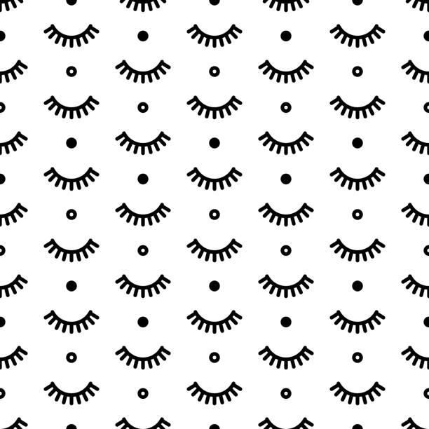 無縫模式與睫毛。可愛的睫毛。用於設計的向量插圖 - 睫毛 幅插畫檔、美工圖案、卡通及圖標