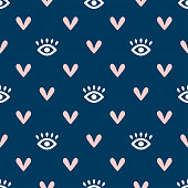 istock Seamless pattern with eyes and hearts. Cute girly endless print. Simple vector illustration. 1226202084