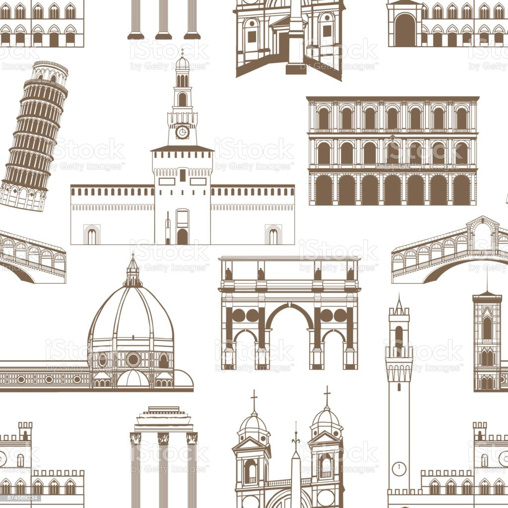 Seamless Pattern with Famous Italian Landmarks vector art illustration