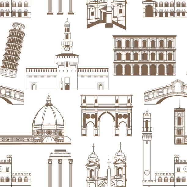 illustrazioni stock, clip art, cartoni animati e icone di tendenza di seamless pattern with famous italian landmarks - milan fiorentina
