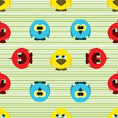 Seamless pattern with fantastic cute birds in a cartoon style isolated on white background. Vector illustration.